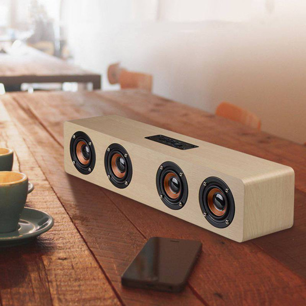 EDAL Subwoofer estéreo inalámbrico Altavoz Wood caixa de somHome Audio Altavoz de escritorio Manos libres Reproductor de música 12W Altavoces Bluetooth