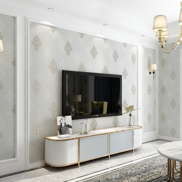 Estilo europeu de Luxo Damasco Papel De Parede Rolo 3D Em Relevo Papel De Parede Espessado Não-tecido Decoração Papéis De Parede Para Sala de estar 10 M