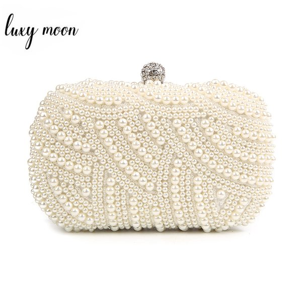 100% Hand Made Luxury Pearl Clutch Bags Women Purse Diamond Chain White Evening Bags For Party Wedding Black Bolsa Feminina J190630