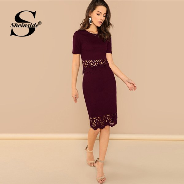 Sheinside Fashion Burgundy Scallop Edge Cut Top And Skirt Set Women Casual Hollowed Top And Midi Skirt Elegant Two Piece Set C19021601