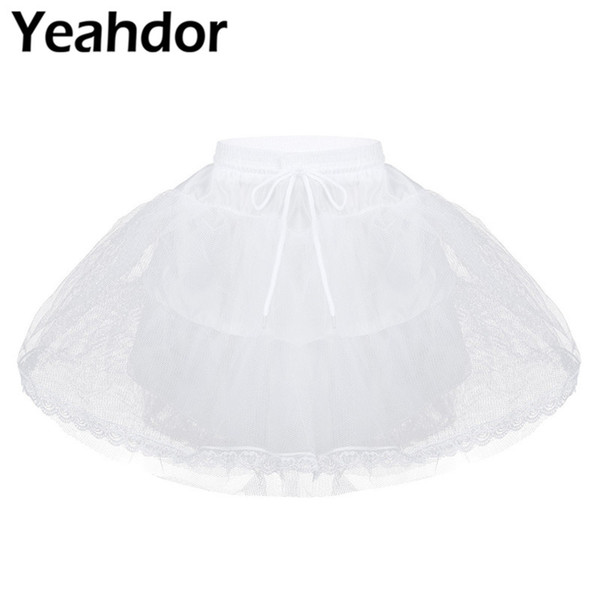 White Kids Girls Hoopless 3 Layers Net Petticoat Underskirt Crinoline Slip for Flower Girls Wedding Dress Prom A-line