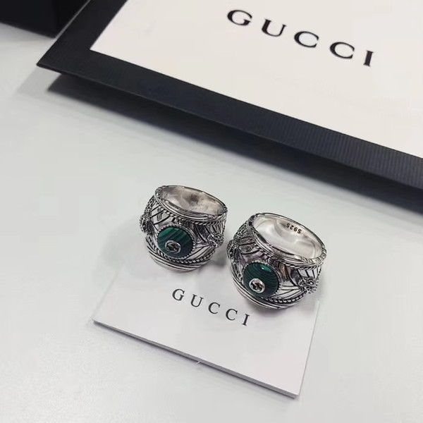 top popular G New Luxury Gemstone Ring High Quality Silver 925 Ring Popular Alloy Couple Ring Fashion Jewelry Supply Wholesale 2019