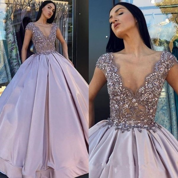 Dusty Pink Quinceanera Dresses Sequined Lace Top Masquerade Ball Dresses Sweet 16 Princess Pageant Dress For Girls Cheap