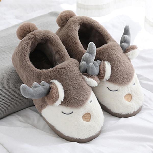 Bebek 70 için Noel Sevimli Geyik Çanta Ayak Pamuk Terlik Yürüyor Bebek Çocuk Kız bebekler Kış Sıcak Ev Ayakkabı Yumuşak Ev Ayakkabı