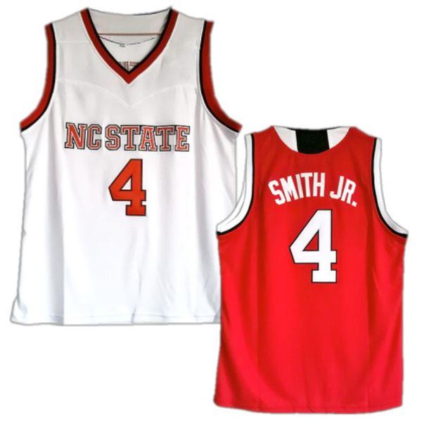 Maillots de basketball # 4 JR Smith NC State Wolfpack Jersey de collège pour homme Smith Smith cousus en blanc et blanc