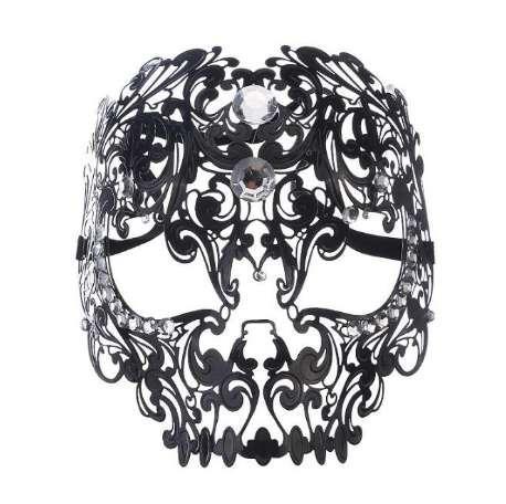 Siyah Altın Gümüş Metal Lazer Kesim Tam Kafatası Venedik Masquerade Maske Erkekler Kadınlar Cadılar Bayramı Gösterileri Topu Rhinestones Balo Parti Maskesi