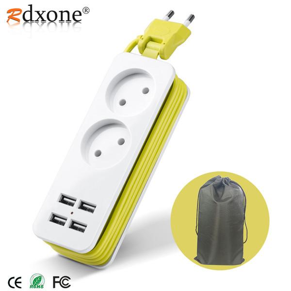 top popular Cheap Extension Rdxone EU plug Travel Power Strip Portable Extension Socket Outlet with 4 USB Wall Charger Smart Desktop Socket 2021