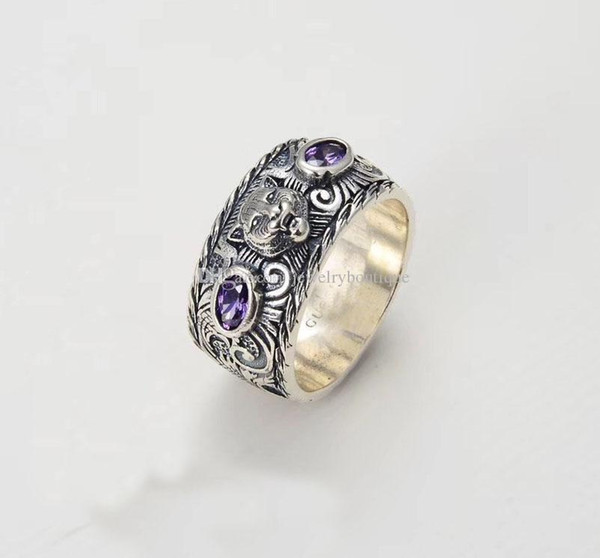 Lightyou999 S925 pure silver ring with nature purple or orange stone and leopard head design for women and man wedding jewelry gift PS5523
