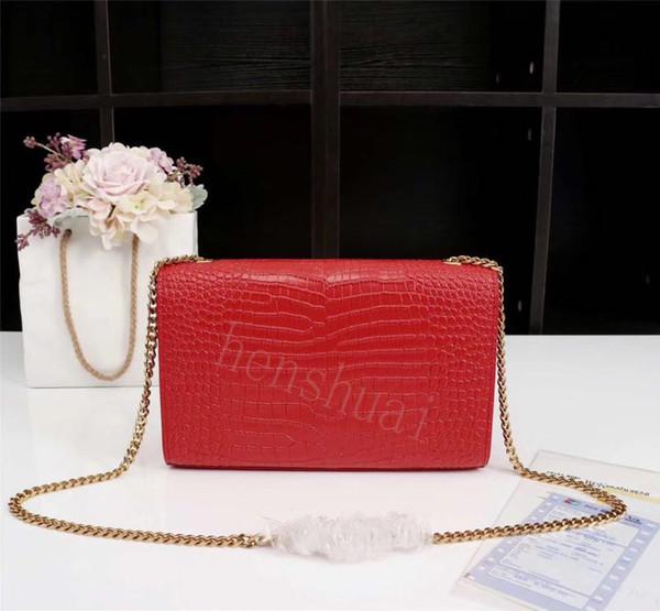 TOP quality Designer Handbags Saint Crocodile Leather material Saintlauren Gold Silver chain Luxury women handbags Shoulder Bags new9ace#