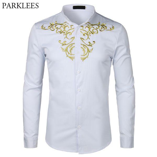 Ouro Bordado Flor shirt Homens manga comprida Chemise Homme 2018New sólido cor do vestido branco camiseta Mens Slim Fit casamento Camisa