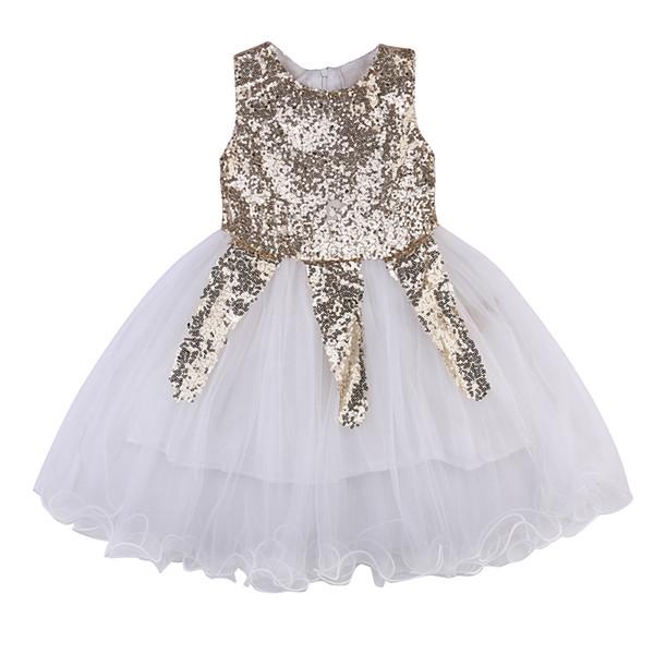 2017 verano muchachas de flor de la princesa de los niños del partido sin mangas del niño del bebé de las lentejuelas de novia de tul vestidos de tutú