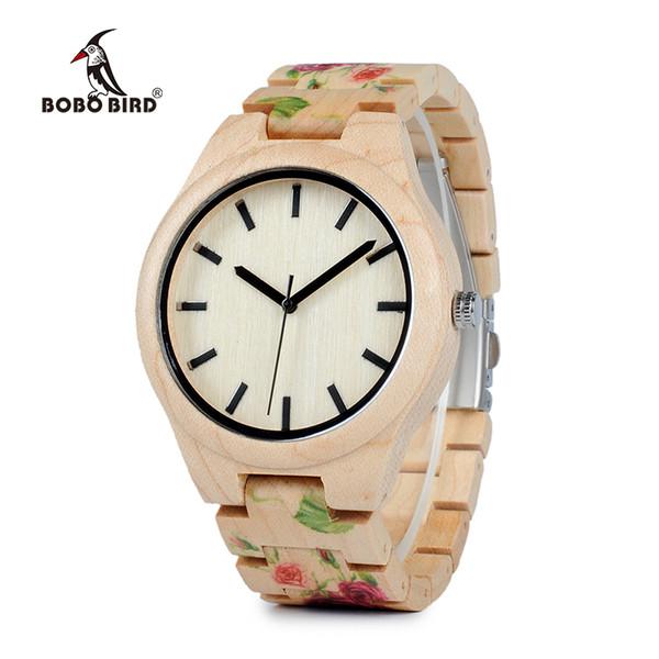 watches for men BOBO BIRD WL26 Strong Pine Wood Watches Brand Designer Watch for Men Women New UV Printing Flower Wooden Band