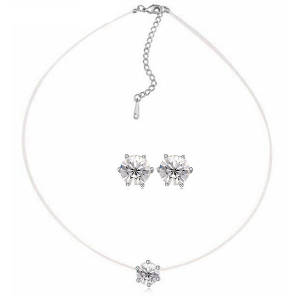 2019 New Stealth fish line Crystal Mini Necklace Classic Stars Earring jewelry Sets Crystal from Swarovski dress accessories