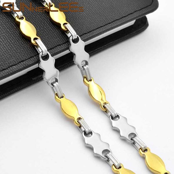 SUNNERLEES Mode Bijoux en acier inoxydable Collier 9 mm géométrique Lien chaîne d'argent couleur d'or pour les hommes Femmes Coffret Cadeau SC101 N