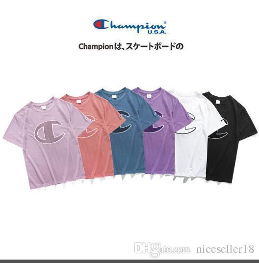 2019 marca Verão 19ss novos Campeões Big C toalha bordada de manga curta T-shirt kanye west cobre T