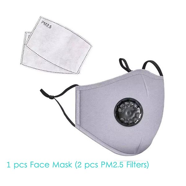 1 Stücke Grau Gesichtsmaske + 2 Stücke Filter