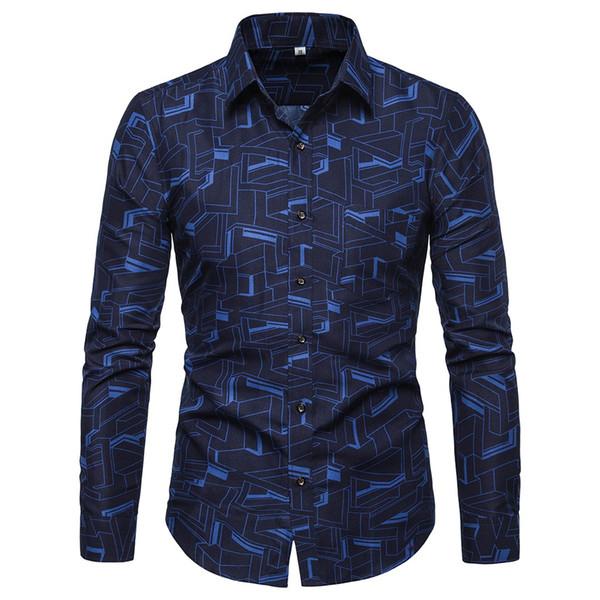 Slim Fashion men shirt casual dress shirts long sleeve high quality Men's shirts Lapel Tops summer Blouse d90411