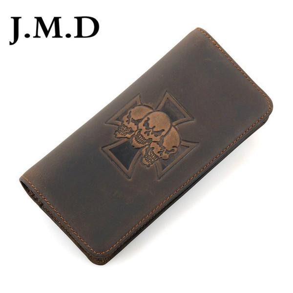 J.M.D Crazy Horse Leder Brieftaschen Brieftasche Heißer Verkauf 2019 Echtes Leder Schädel Muster Lange Brieftasche Herren 8116