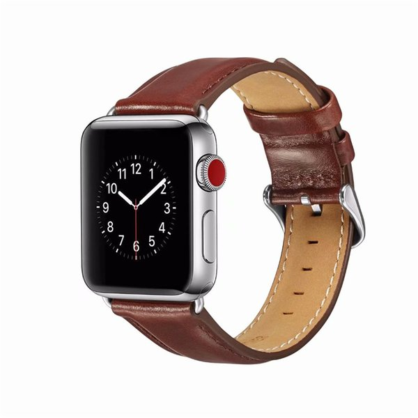 Genuine leather strap business band replacement for apple watch series 4 3 2 38mm 42mm 40mm 44mm