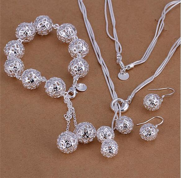 Factory price 925 sterling silver hollow ball necklace bracelet earrings Fashion Jewelry Set Free shipping birthday gift for woman