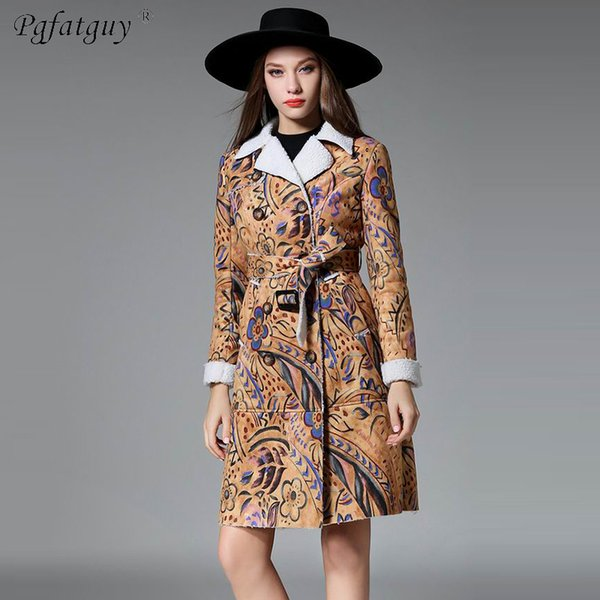 2019 Suede Floral Printing Lamb Wool Liner Trench Coat Long Sleeve Long Outer With Belt Women Casual Fall Winter Workwear Coat