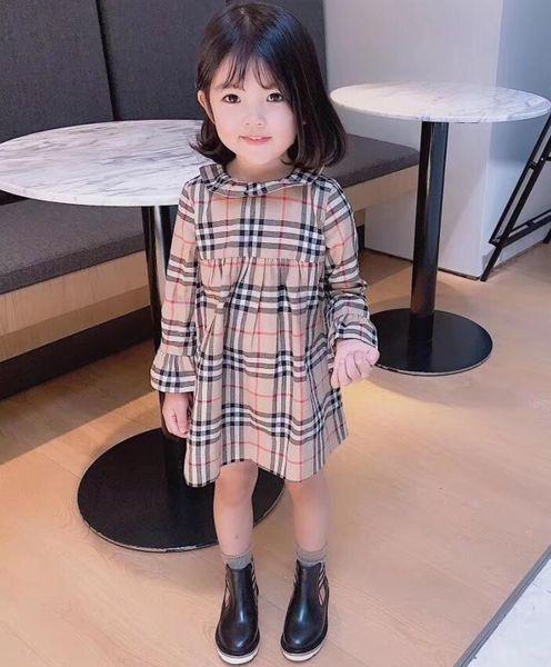 Yeni bebek kız uzun kollu elbise çocuk ilkbahar sonbahar pamuk elbise keten gömlek elbiseler çocuklar bluz elbise