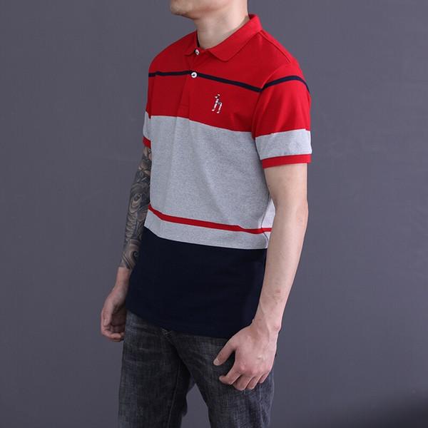 HZ Çizgili Nakış Erkek Polos Yaz Ince Yaka Boyun Erkek Gençler Casual Kontrast Renk Tees Tops