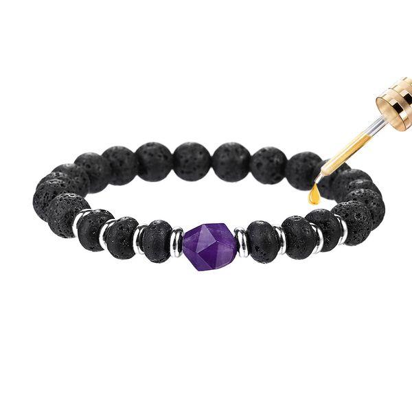 Multidimensional 8MM Striped Agate Stone Black Lava Stone Beads Bracelet Volcano DIY Essential Oil Diffuser Bracelet Jewelry