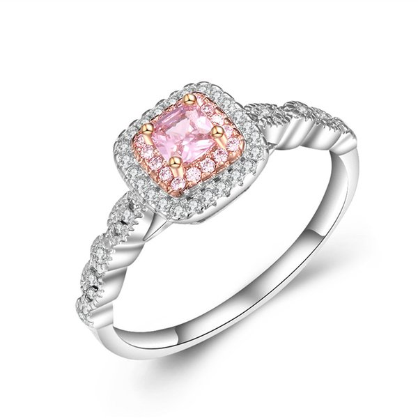 Pink Diamond Ring >> 2019 Wholesale Brand Women Ring Pink Diamond Cz S925 Sterling Silver Engagement Lovers Rings For Women Jewelry Bride Gift Size 5 10 From