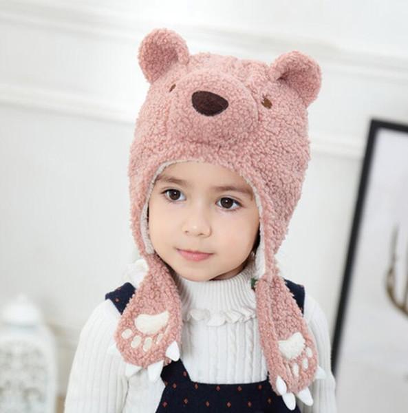 Kış sıcak berber polar kalın bebek etkilidirler beanie şapka moda sevimli ayı kalın kaput kap yumuşak bebek grils şapka