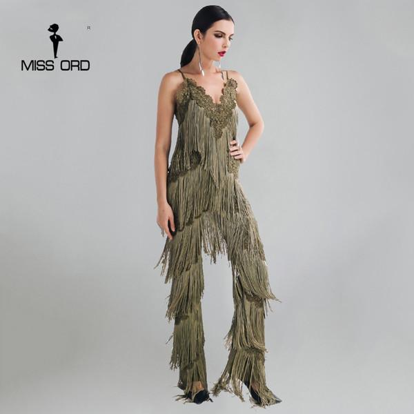 Missord 2019 Sexy Sleeveless V-neck Halter Lace Tassel Jumpsuit Ft4661-2 Y19060501