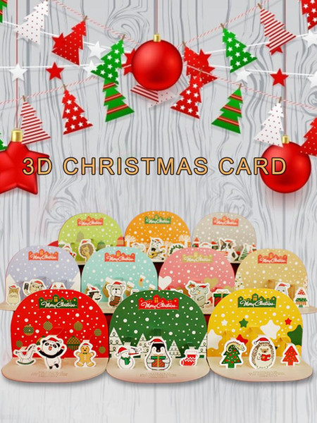 2019 Christmas Cards Set Cute Cartoon Handmade 3d Card Envelopes Greeting Card For Friends Family Festivals Major Holiday Gifts From Raymonu 32 51