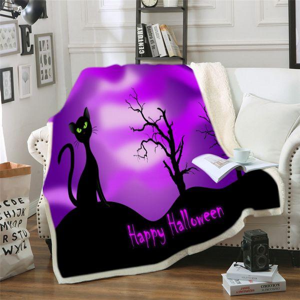 Happy Halloween Pumpkin Bat Blanket Soft Warm Cozy Bed Couch Lightweight Polyester Microfiber Blanket Throw para Niños Mujeres Niño