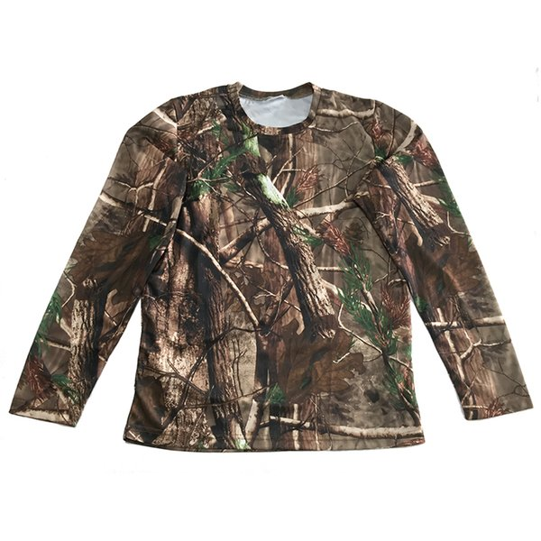 Bionic Camouflage Hunting Clothes Mens T-shirts Breathable Mesh Long-Sleeve Shirt Camping Hunting Hiking Shirt Camouflage