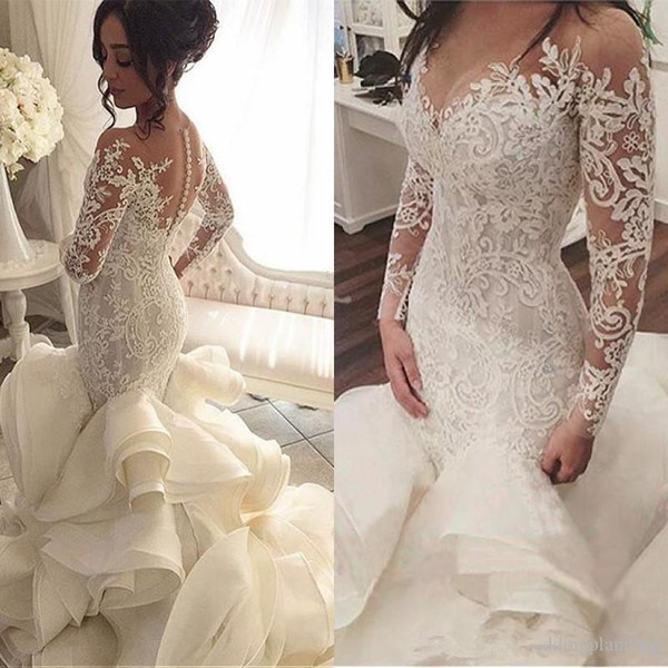 best selling 2019 Plus Size Organza Mermaid Wedding Dresses New Arrival Lace Long Sleeve Muslim Vestido De Noiva Romantic Appliques Ruffles Wedding Gowns