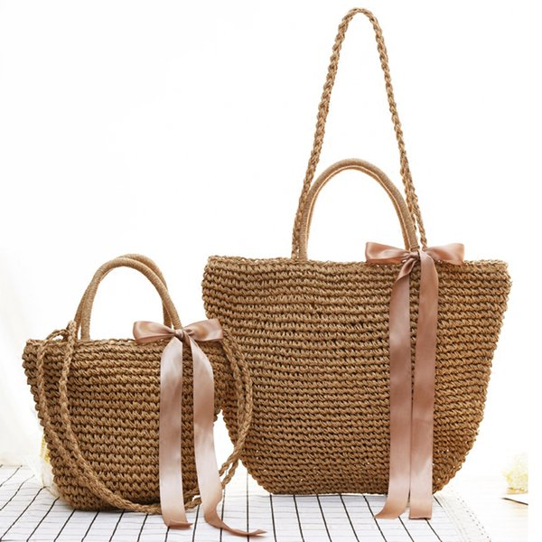 Women Ribbon Bow Woven Straw Bag Totes Patchwork Travel Ladies Crossbody Rattan Bag Beach Handbag Basket Wicker Bag W411 Y190704