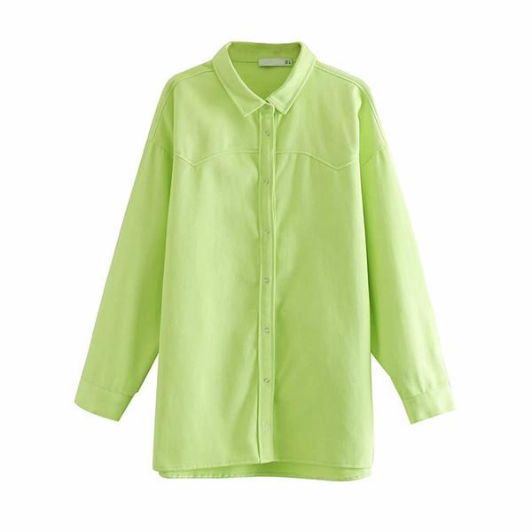 Vintage Şık Gevşek Uzun Kadın Gömlek Tops 2019 Moda Yaka Yaka Uzun Kollu Streetwear Bayanlar Bluzlar Casual Blusas Mujer