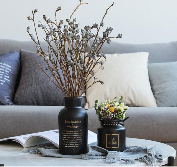 Crystal Glass Vase Home Decor Desktop Vases Black White Color