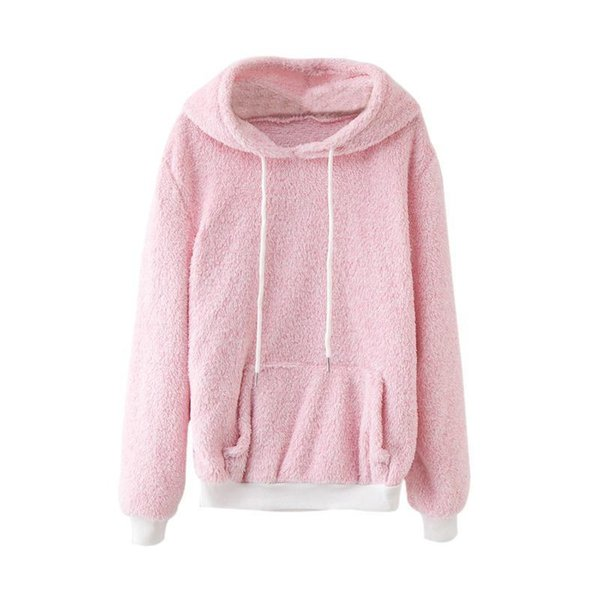 Pop2019 Women Front Pocket Harajuku Hooded Sweatshirt Long Sleeve Flannel Pullovers Tops Thick Loose Outwear