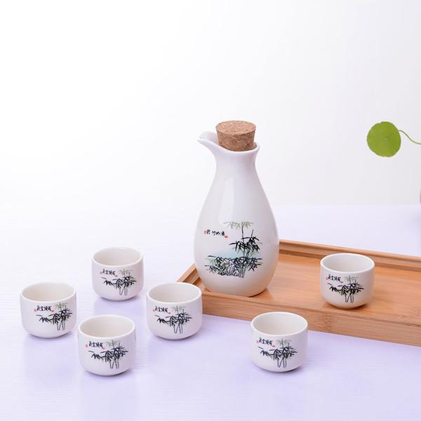 7 Pcs Vintage Céramique Sake Pot Tasses Set Style Japonais Flacons Hip Maison Cuisine Bureau Flagon Liqueur Coupe Drinkware Cadeaux Créatifs