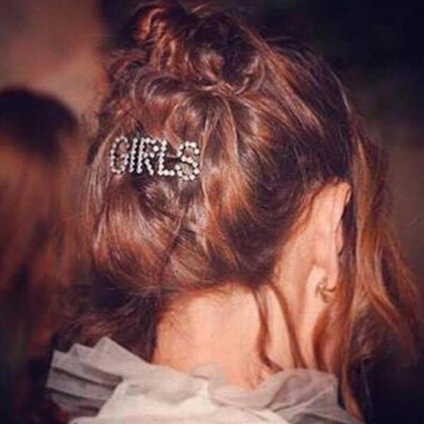 Europe Crystal Rhinestone Hair Clip Pin Woman Hair Accessories Letter Boss Shape Korean Headdress Hairgrip Barrette Girls Holder