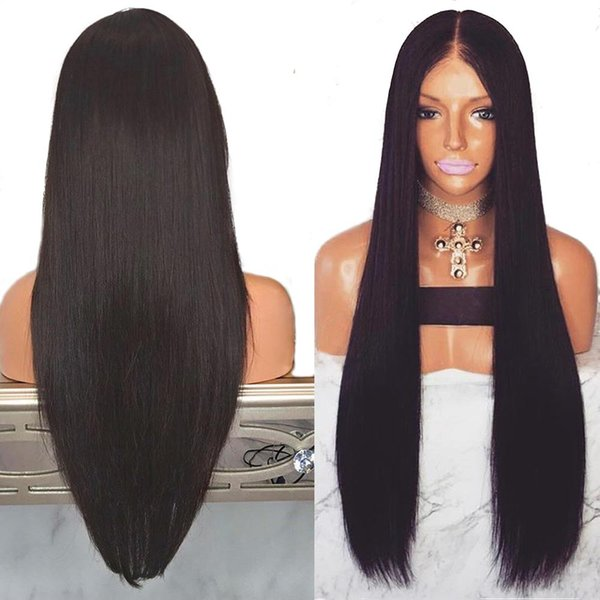 Silk Base Top Full Lace high temperature wire Wigs With Pre Plucked Straight Brazilian Black Wigs for Women