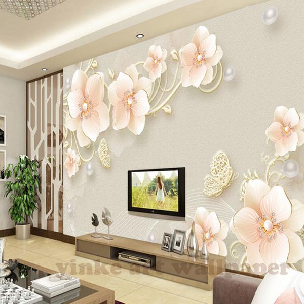 3D Duvar Kağıdı kabartma takı çiçek Fotoğraf Duvar resmi Oturma Odası Yemek Odası Zemin Duvar Kağıdı Modern Ev Dekor Freskleri