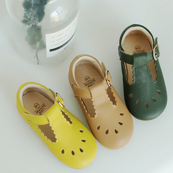 Genuine Leather Girls Sandals Handmade Laciness Baby Sandals Kids Shoes Princess Shoes Children Sandals MX190727