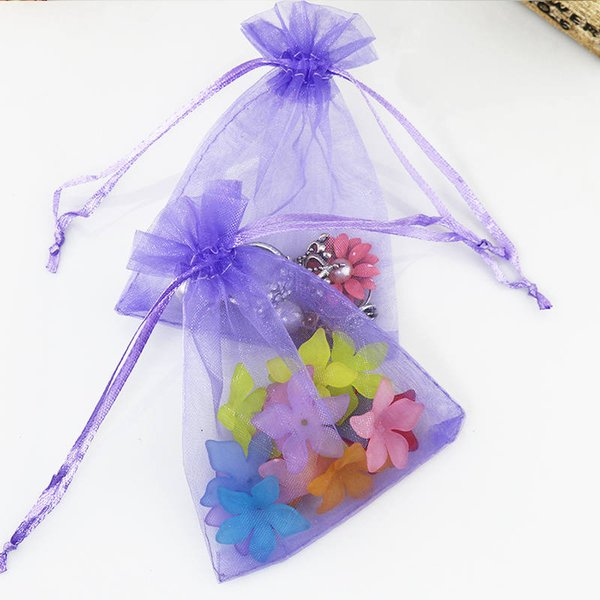 100pcs Cheap Violet Organza Drawstring Bags 13x18cm Jewelry Bracelet Necklace Candy Bead Gifts Packaging Storage Bags Pouches