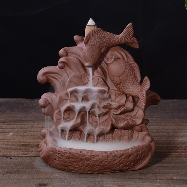 Ceramic Backflow Incense Burner Purple Sand Fish Creative Home Decor Cones Incense Burner Holder Censer + 10pcs Cones