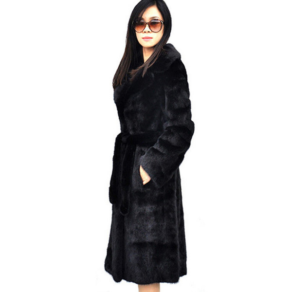 New Winter Women Fashion Long Faux Fur Coats Jackets Female Plus Size Belt Imitation Mink Fur Outerwear 4xl 5xl 6xl