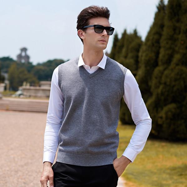 Шерстяной свитер без рукавов Men Pull Homme Пуловер вязаный жилет Твердые V-образным вырезом Тонкий мужской топ свитера больших размеров Blusa Masculina