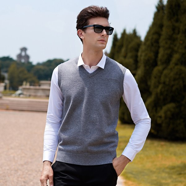 Pull en laine sans manches Hommes Pull Homme Pull Tricoté Gilet Solide Col en V Slim Hommes Pull Tops Grandes Tailles Blusa Masculina