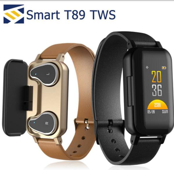 T89 Smart Bracelet TWS Bluetooth Cuffia Tracker fitness Monitor della frequenza cardiaca Smart Wristband Sport Watch per Android e iOS con pacchetto